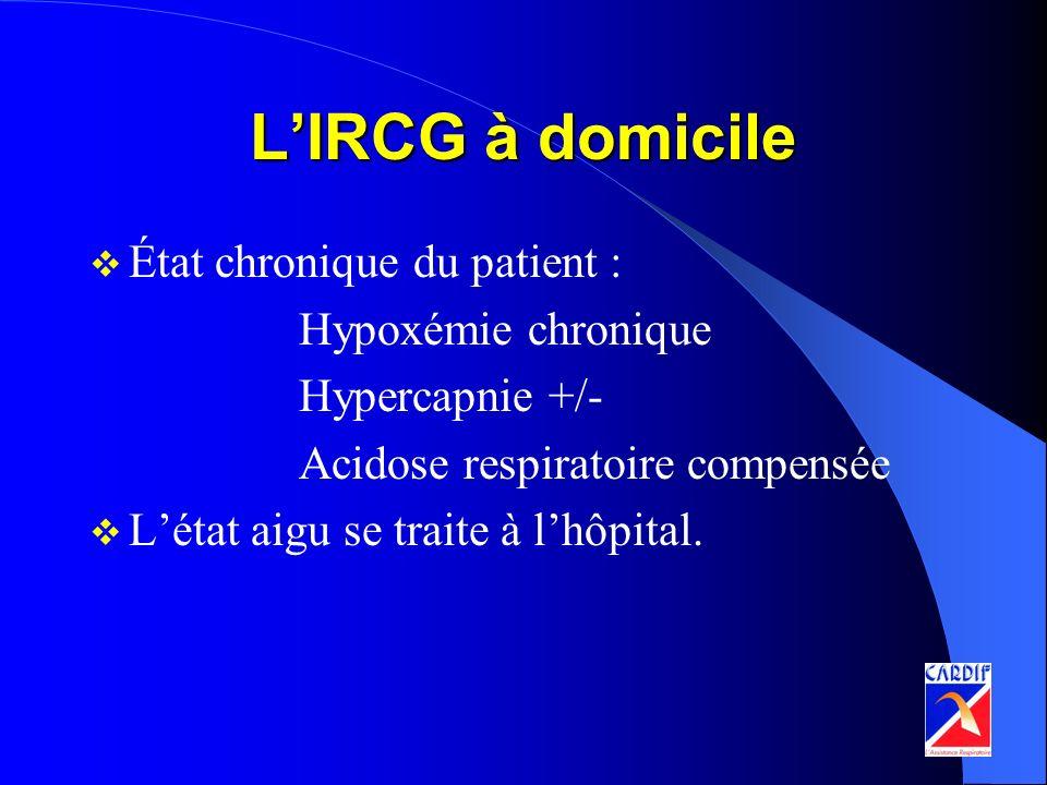 L'IRCG à domicile État chronique du patient : Hypoxémie chronique