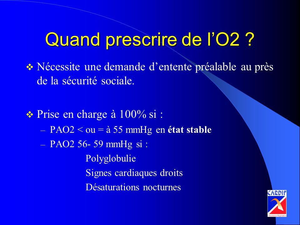 Quand prescrire de l'O2 Nécessite une demande d'entente préalable au près de la sécurité sociale.