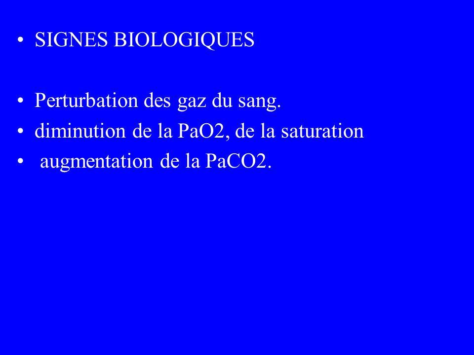 SIGNES BIOLOGIQUES Perturbation des gaz du sang. diminution de la PaO2, de la saturation.
