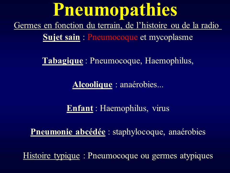 Pneumopathies Germes en fonction du terrain, de l'histoire ou de la radio Sujet sain : Pneumocoque et mycoplasme.