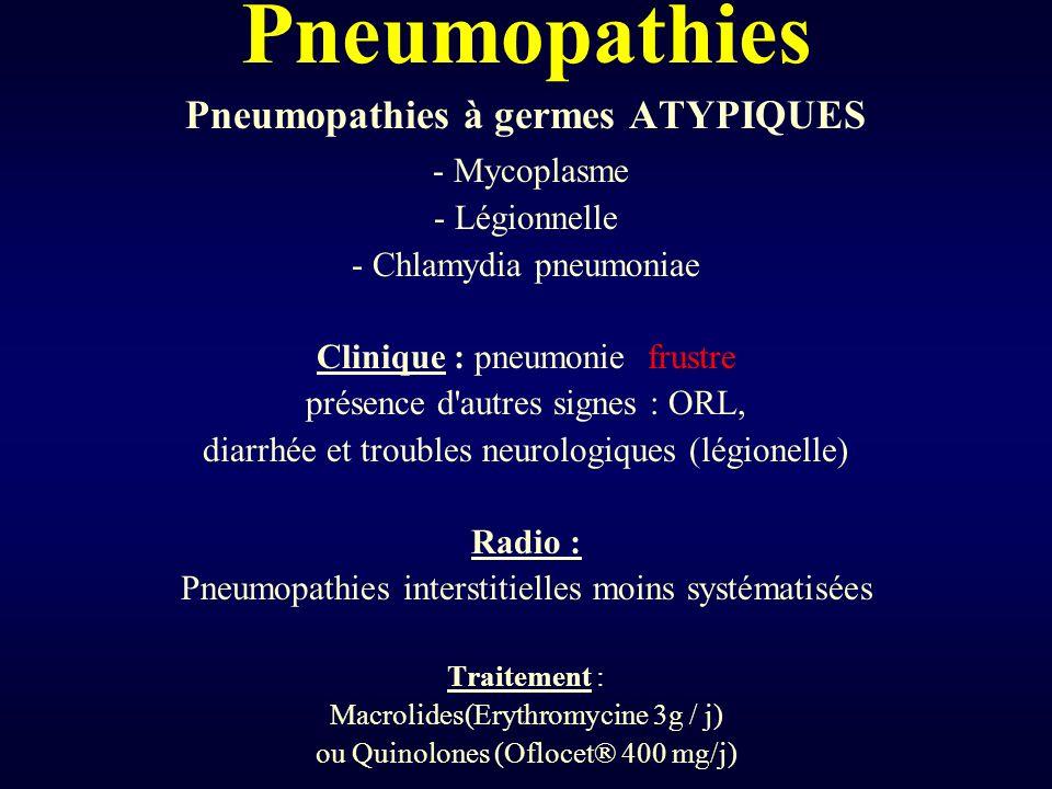 Pneumopathies Pneumopathies à germes ATYPIQUES - Mycoplasme