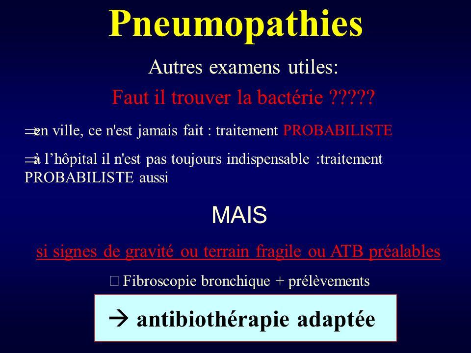 Pneumopathies MAIS Autres examens utiles: