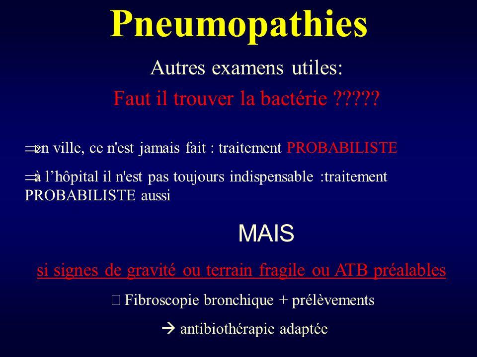 Pneumopathies Autres examens utiles: Faut il trouver la bactérie