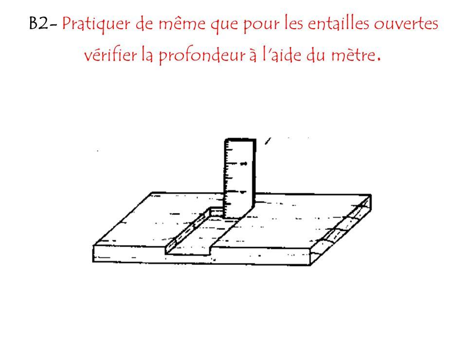 B2- Pratiquer de même que pour les entailles ouvertes vérifier la profondeur à l aide du mètre.