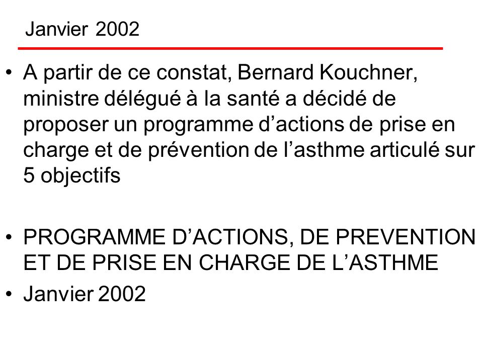 PROGRAMME D'ACTIONS, DE PREVENTION ET DE PRISE EN CHARGE DE L'ASTHME