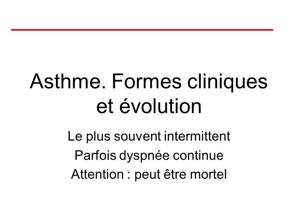Asthme. Formes cliniques et évolution