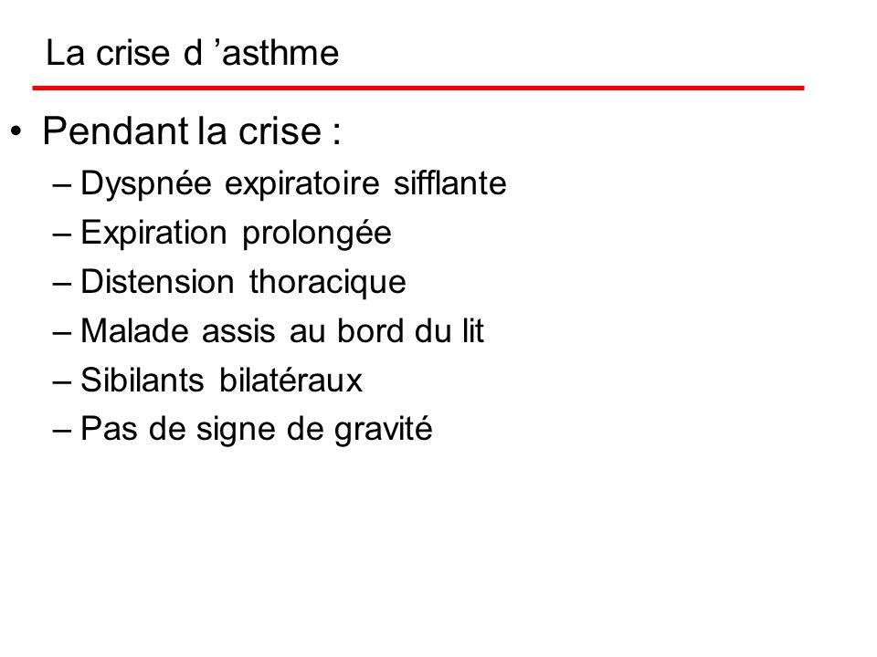 Pendant la crise : La crise d 'asthme Dyspnée expiratoire sifflante