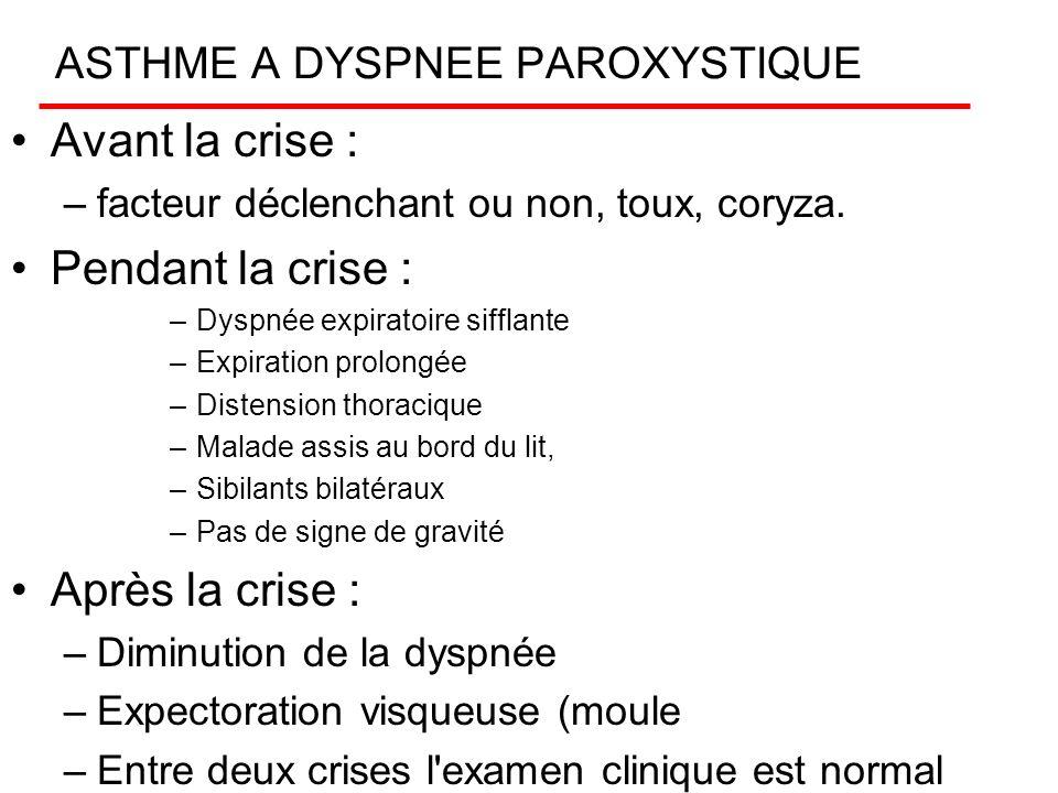 ASTHME A DYSPNEE PAROXYSTIQUE