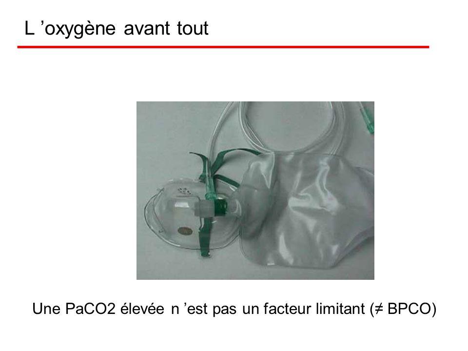 L 'oxygène avant tout Une PaCO2 élevée n 'est pas un facteur limitant (≠ BPCO)
