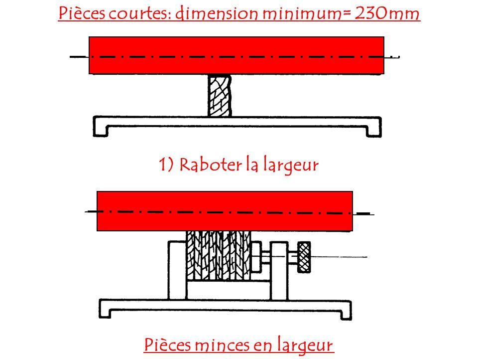 Pièces courtes: dimension minimum= 230mm Pièces minces en largeur
