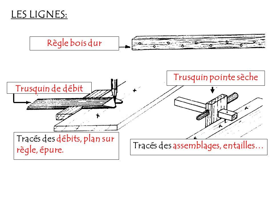 LES LIGNES: Règle bois dur Trusquin pointe sèche Trusquin de débit