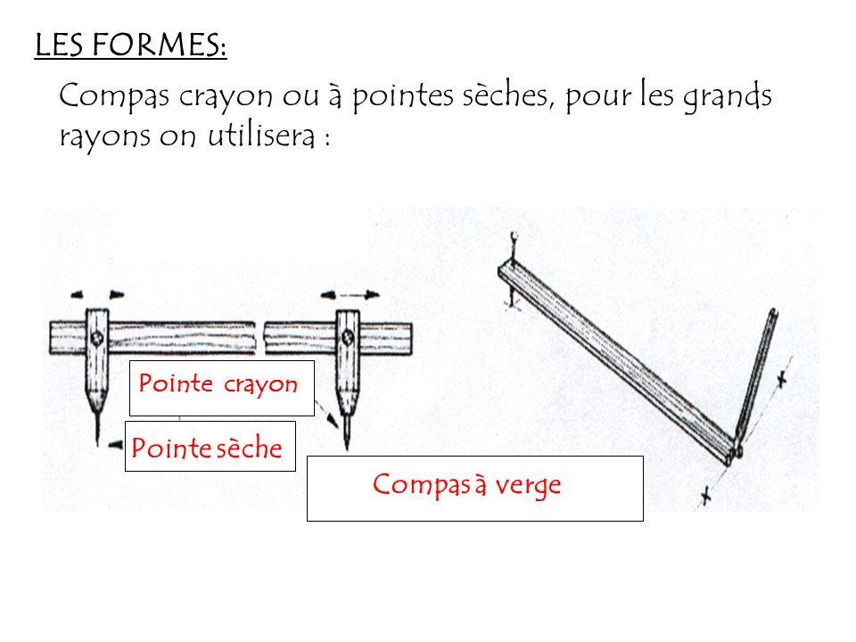 LES FORMES: Compas crayon ou à pointes sèches, pour les grands rayons on utilisera : Pointe crayon.