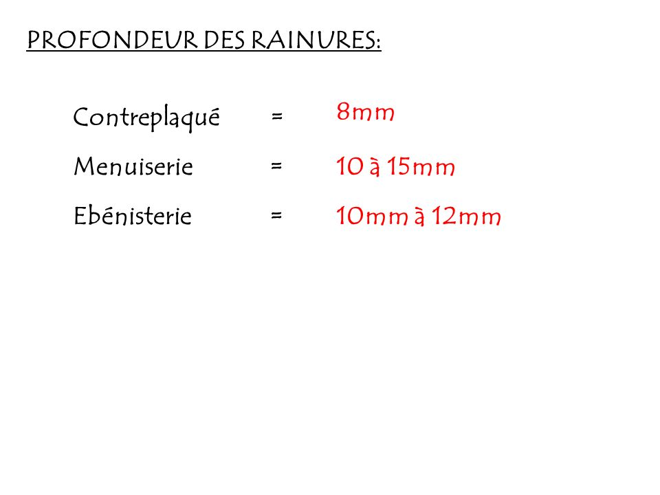 PROFONDEUR DES RAINURES: