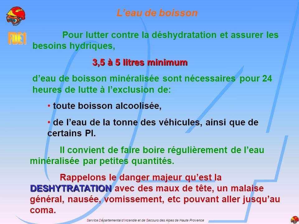 L'eau de boisson Pour lutter contre la déshydratation et assurer les besoins hydriques, 3,5 à 5 litres minimum.
