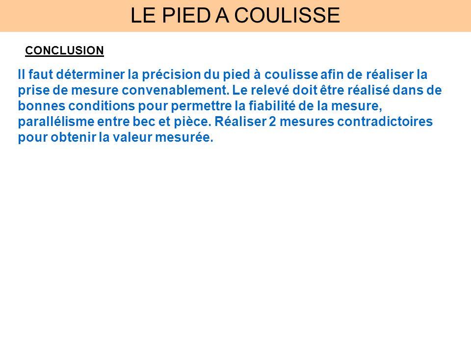 LE PIED A COULISSE CONCLUSION.