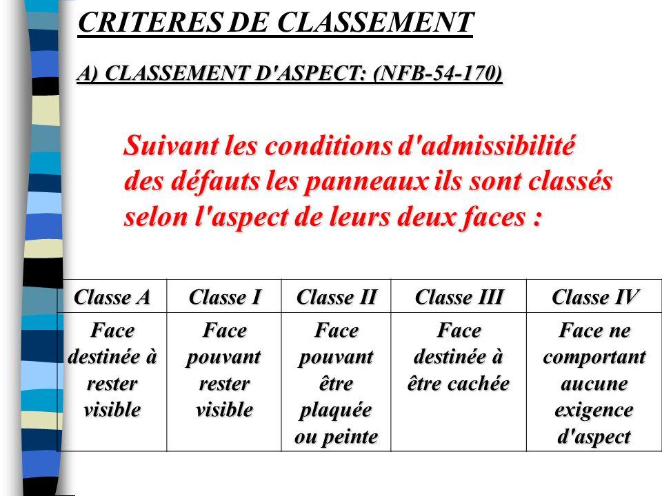 CRITERES DE CLASSEMENT