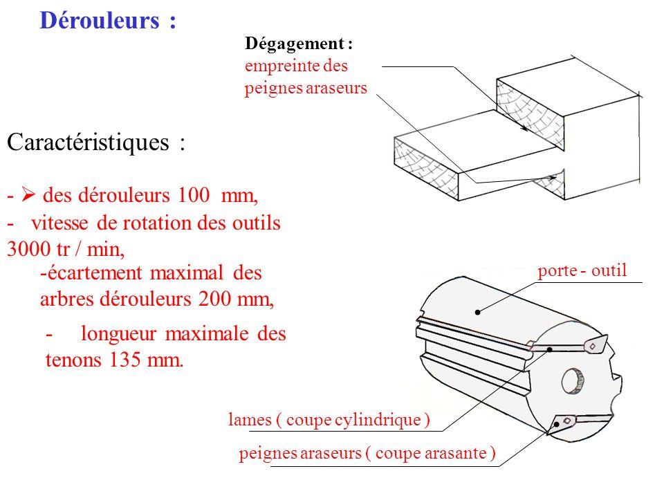 Dérouleurs : Caractéristiques : -  des dérouleurs 100 mm,