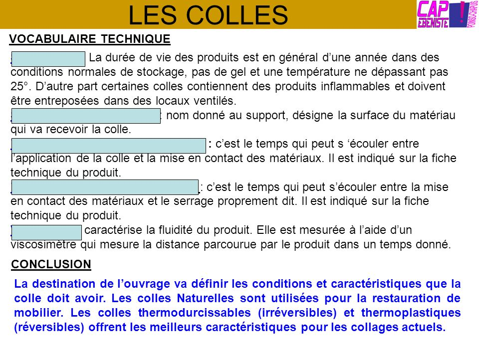 LES COLLES VOCABULAIRE TECHNIQUE