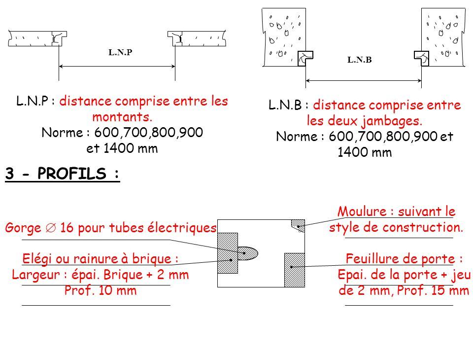 3 - PROFILS : L.N.P : distance comprise entre les montants.