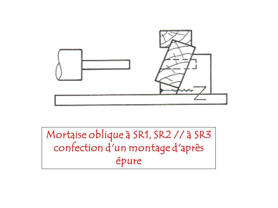 Mortaise oblique à SR1, SR2 // à SR3 confection d un montage d après épure