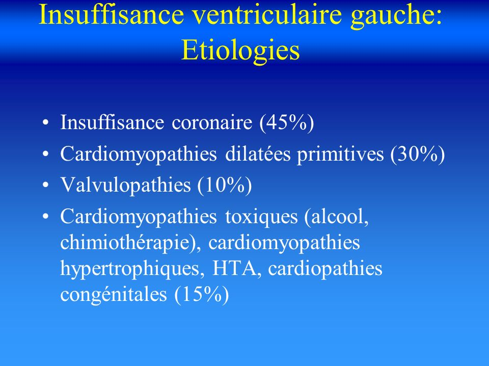 Insuffisance ventriculaire gauche: Etiologies