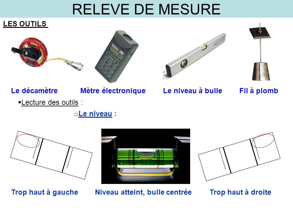 RELEVE DE MESURE LES OUTILS Le décamètre Mètre électronique