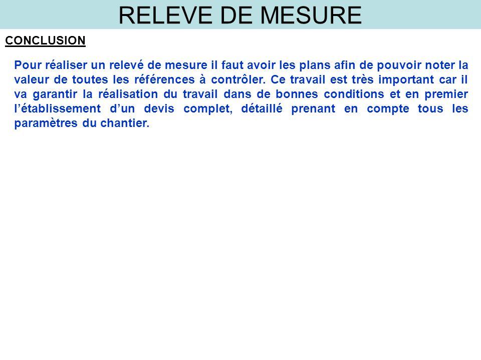 RELEVE DE MESURE CONCLUSION