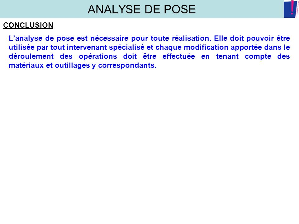 ANALYSE DE POSE CONCLUSION