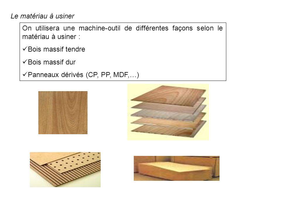 Le matériau à usiner On utilisera une machine-outil de différentes façons selon le matériau à usiner :