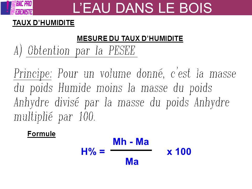 L'EAU DANS LE BOIS Mh - Ma H% = x 100 Ma TAUX D'HUMIDITE