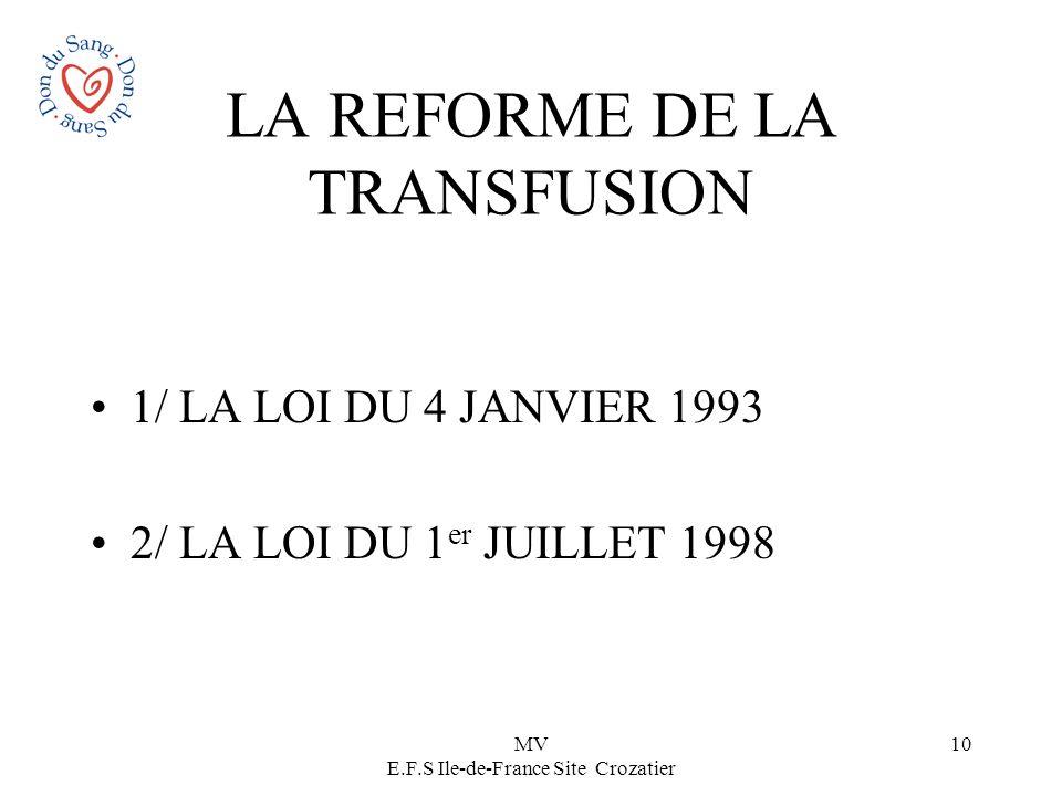 LA REFORME DE LA TRANSFUSION