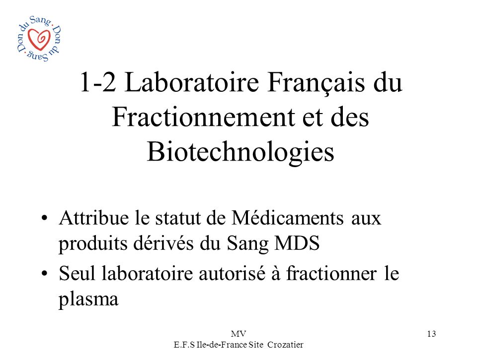 1-2 Laboratoire Français du Fractionnement et des Biotechnologies