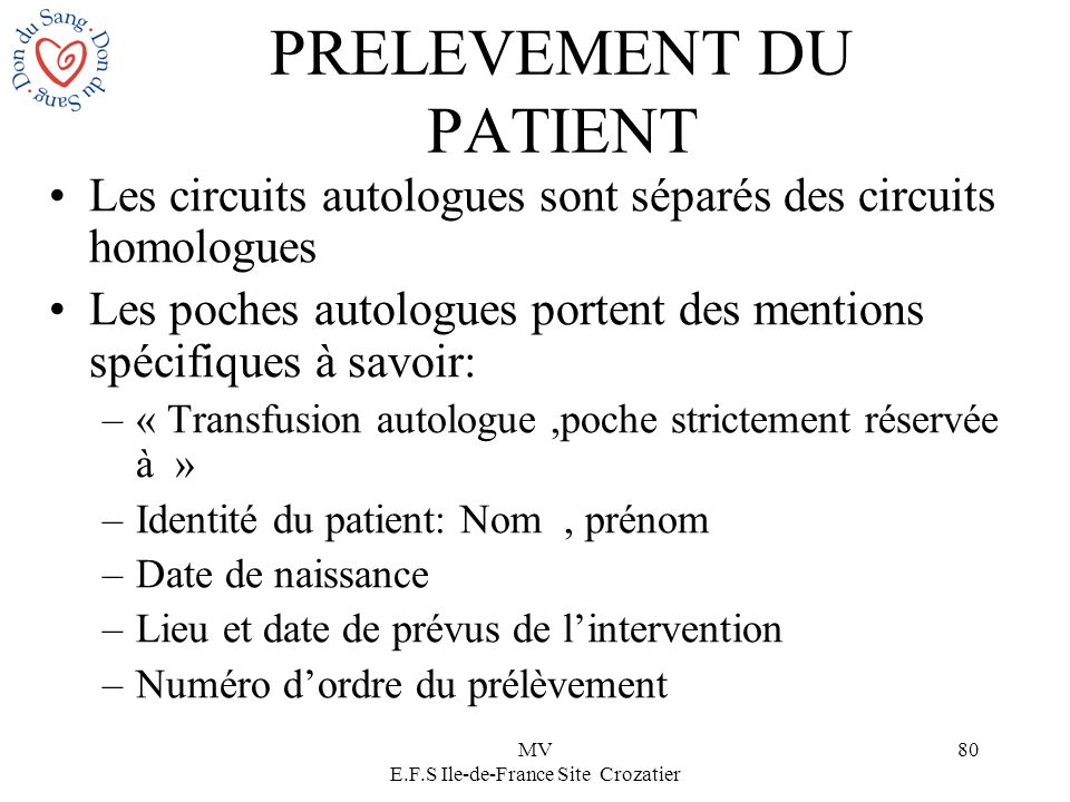 PRELEVEMENT DU PATIENT