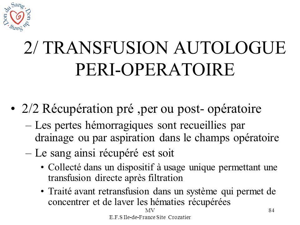 2/ TRANSFUSION AUTOLOGUE PERI-OPERATOIRE
