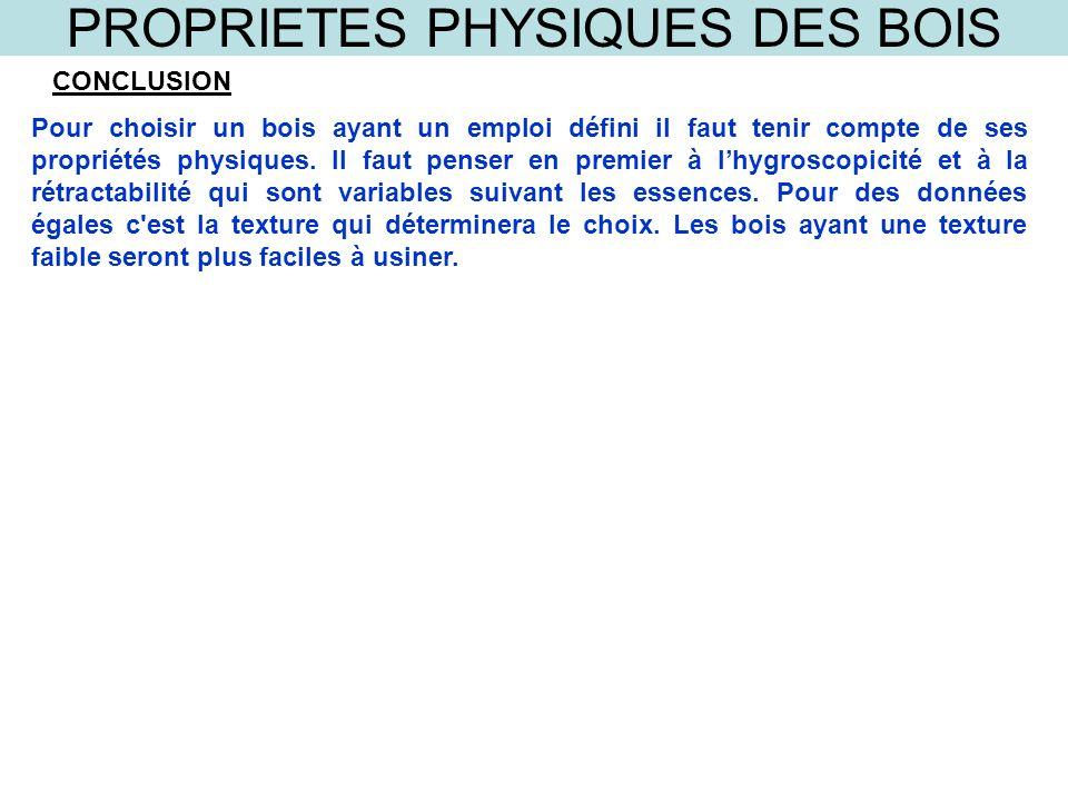 PROPRIETES PHYSIQUES DES BOIS