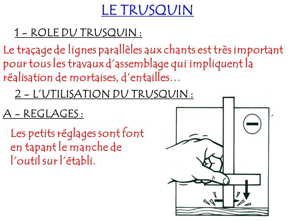 LE TRUSQUIN 1 - ROLE DU TRUSQUIN :