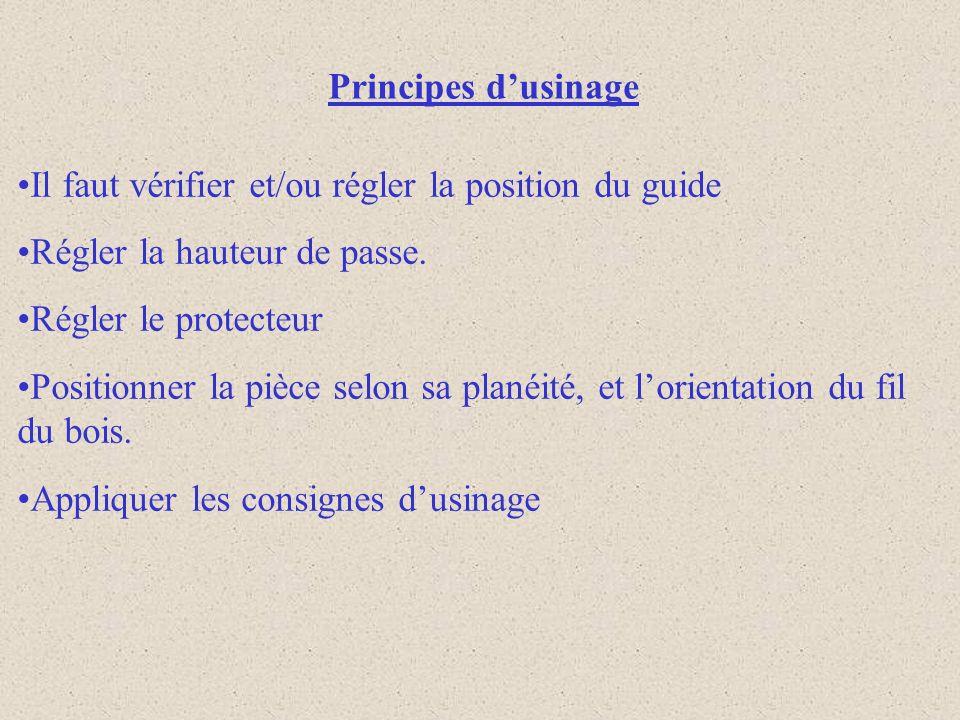 Principes d'usinageIl faut vérifier et/ou régler la position du guide. Régler la hauteur de passe. Régler le protecteur.