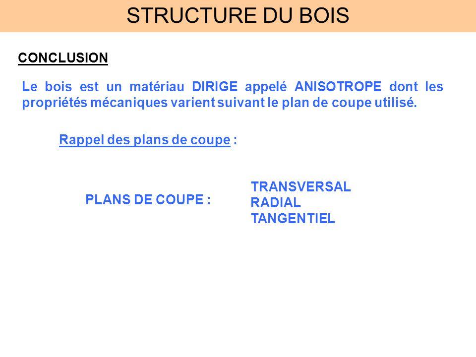 STRUCTURE DU BOIS CONCLUSION
