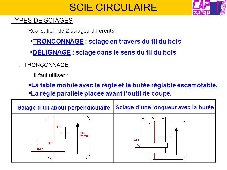 SCIE CIRCULAIRE TYPES DE SCIAGES