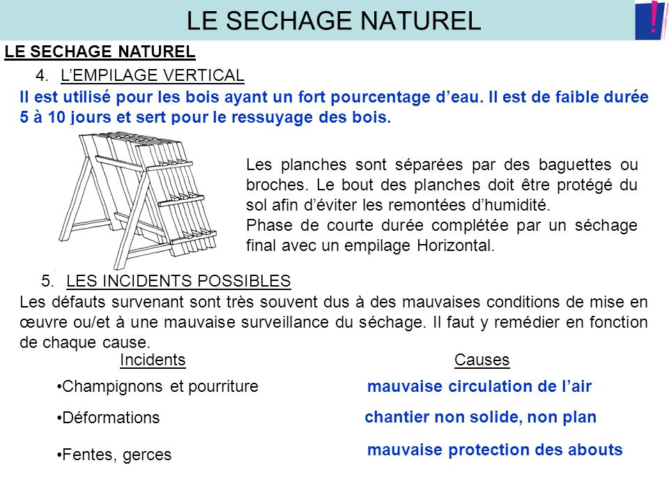 LE SECHAGE NATUREL LE SECHAGE NATUREL L'EMPILAGE VERTICAL