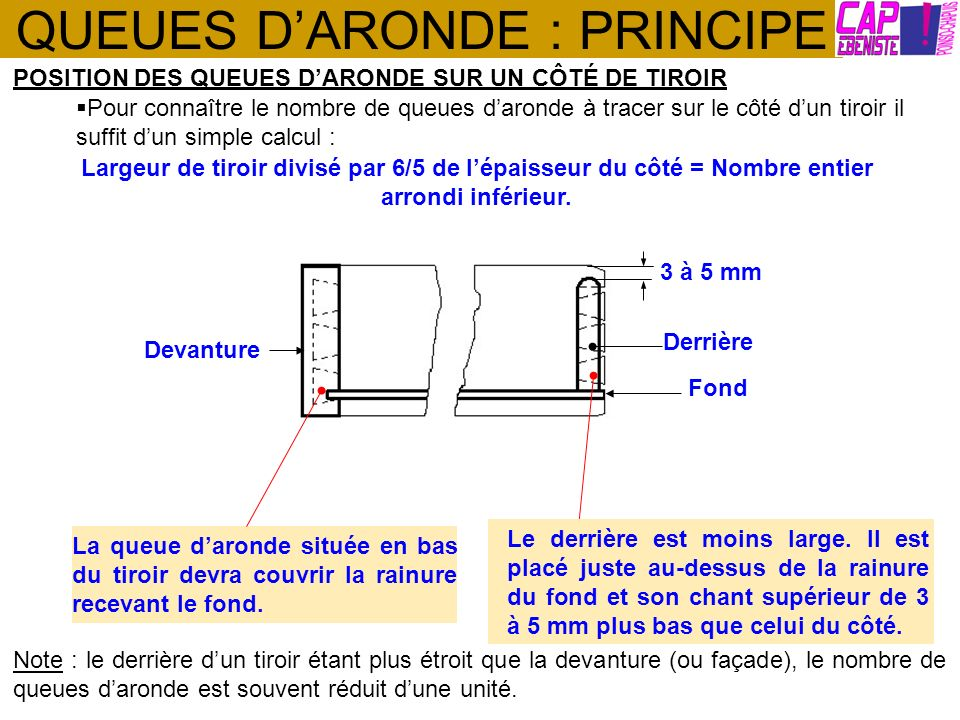 QUEUES D'ARONDE : PRINCIPE