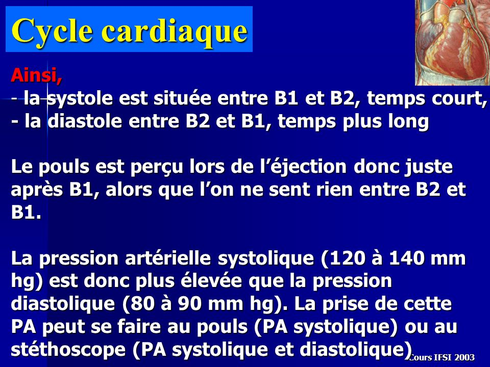 Cycle cardiaque Ainsi,