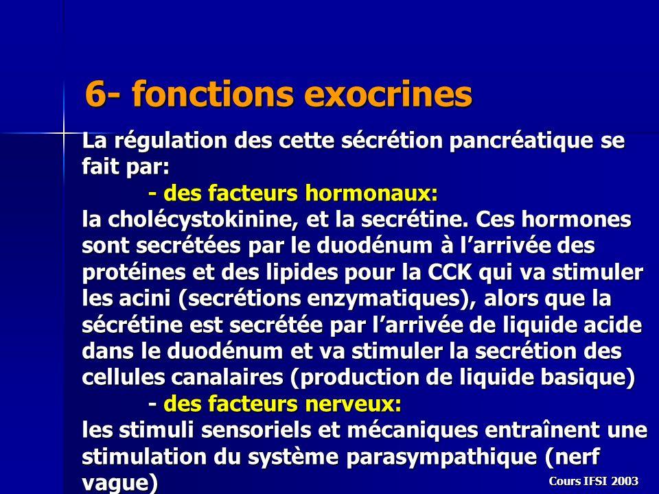 6- fonctions exocrines La régulation des cette sécrétion pancréatique se fait par: - des facteurs hormonaux: