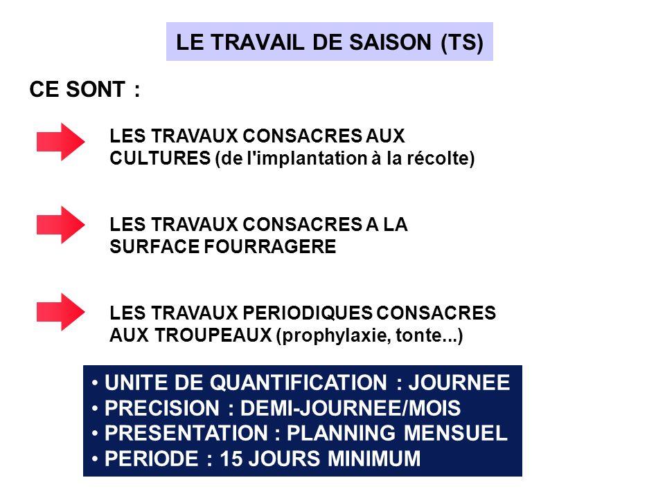 LE TRAVAIL DE SAISON (TS)