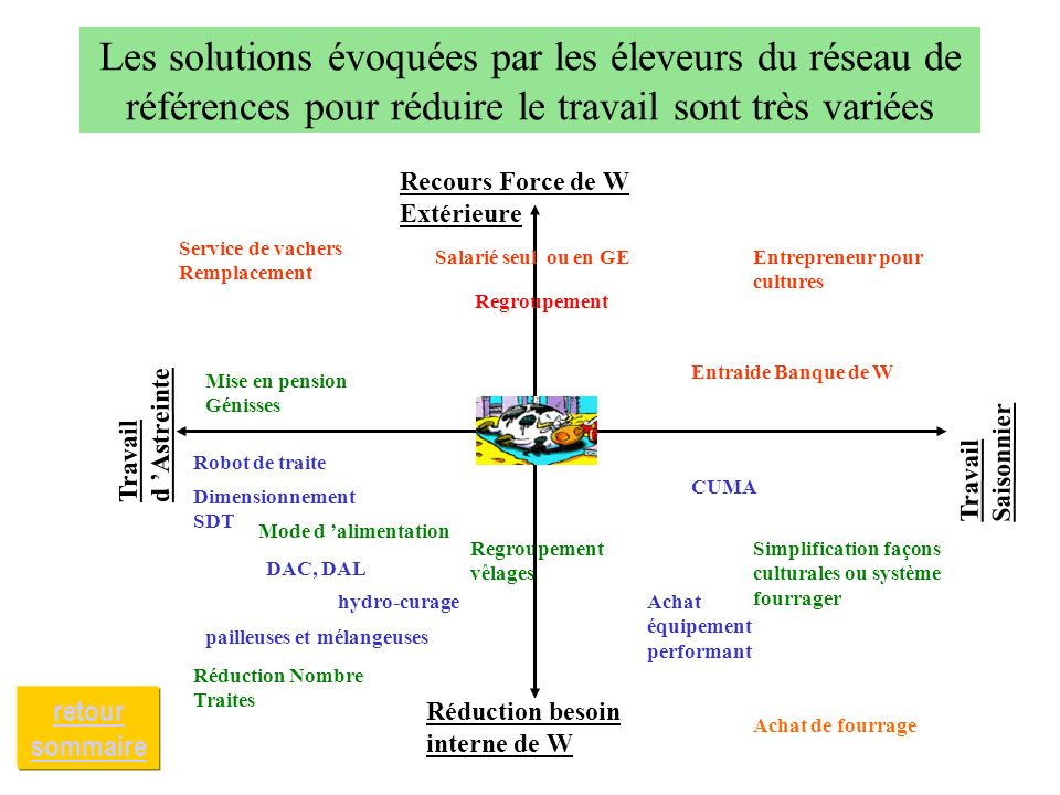 Les solutions évoquées par les éleveurs du réseau de références pour réduire le travail sont très variées