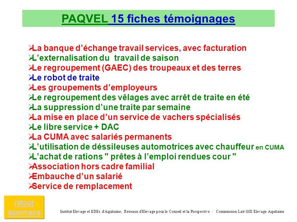 PAQVEL 15 fiches témoignages