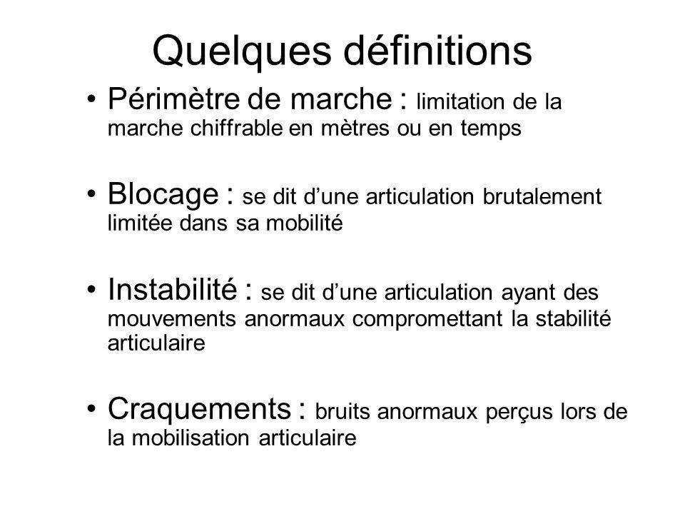 Quelques définitions Périmètre de marche : limitation de la marche chiffrable en mètres ou en temps.