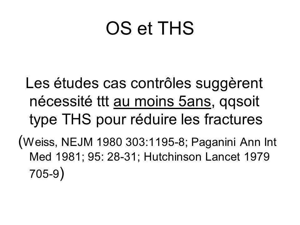 OS et THS Les études cas contrôles suggèrent nécessité ttt au moins 5ans, qqsoit type THS pour réduire les fractures.