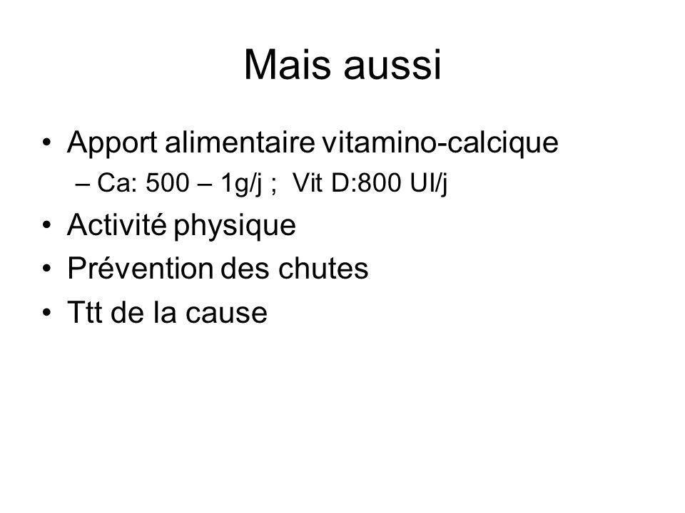 Mais aussi Apport alimentaire vitamino-calcique Activité physique