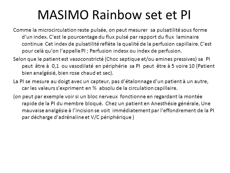 MASIMO Rainbow set et PI